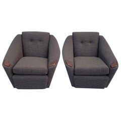 Pair of 1960s Armchairs in Bute Fabric and Teak Handrests