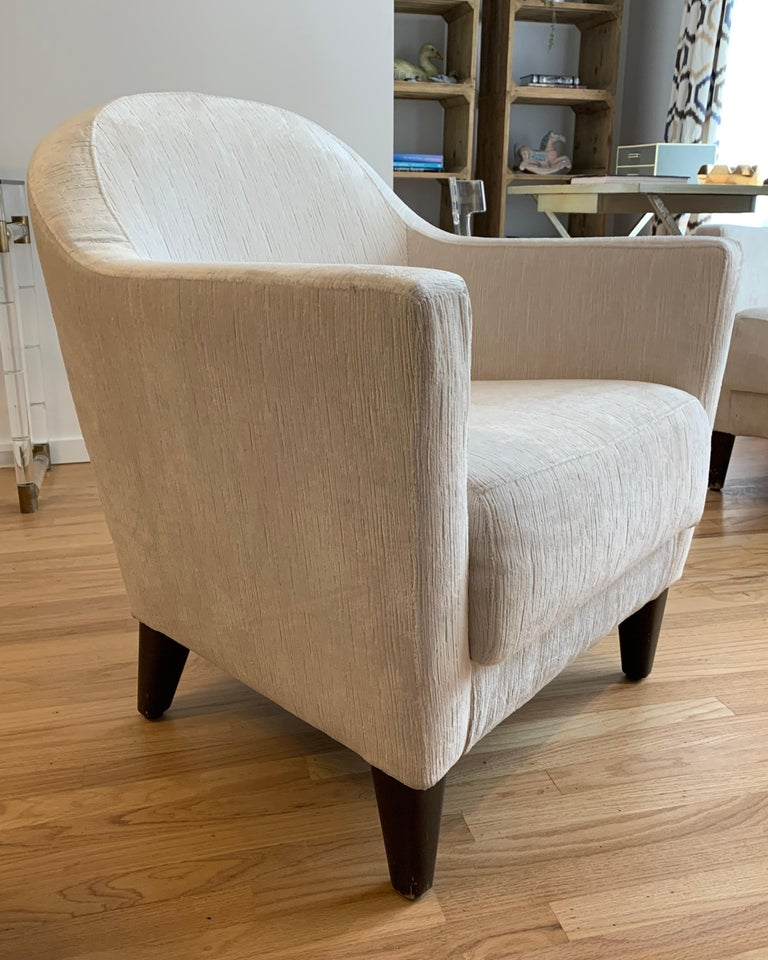 Pair of 1960s Armchairs in Cream Color Fabric, Newly Upholstered For Sale 5