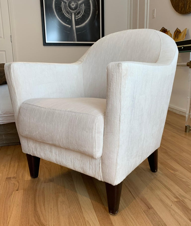 Mid-Century Modern Pair of 1960s Armchairs in Cream Color Fabric, Newly Upholstered For Sale