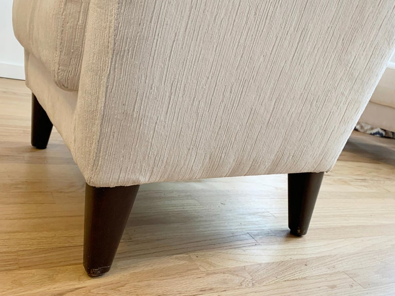 Pair of 1960s Armchairs in Cream Color Fabric, Newly Upholstered For Sale 1