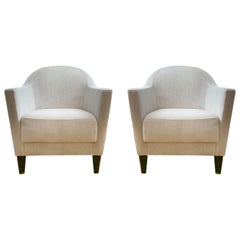 Pair of 1960s Armchairs in Cream Color Fabric, Newly Upholstered