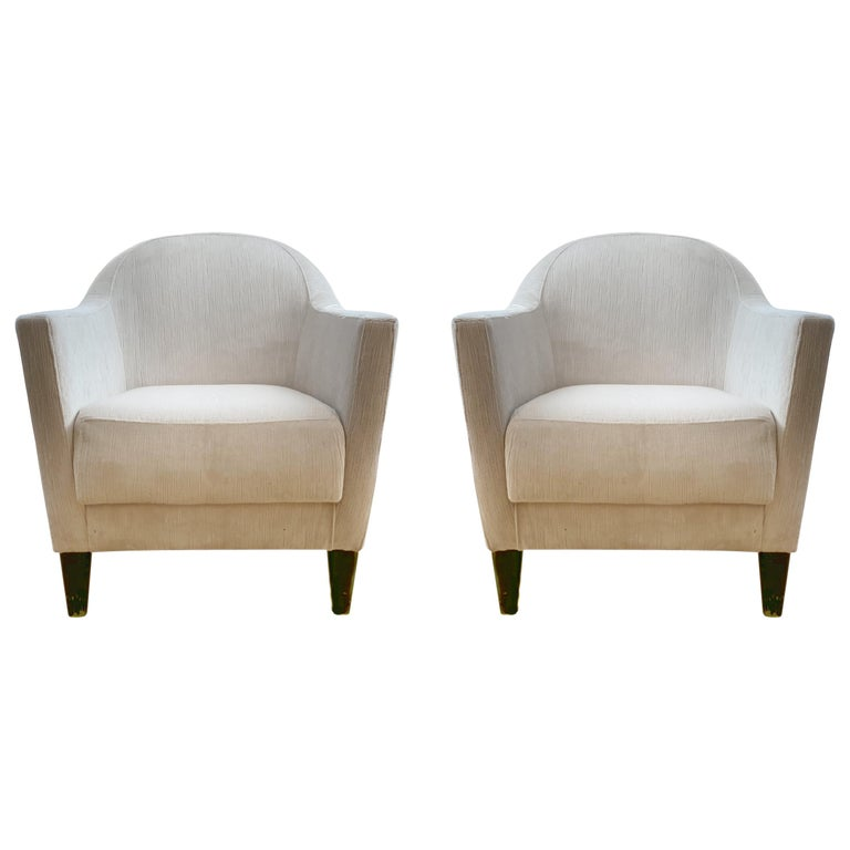 Pair of 1960s Armchairs in Cream Color Fabric, Newly Upholstered For Sale