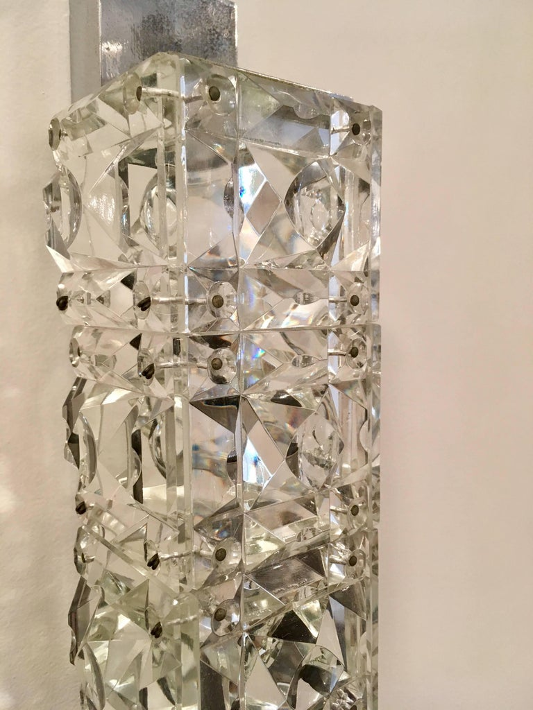 Mid-20th Century Pair of 1960s Austrian Crystal Kinkeldey Wall Lights For Sale