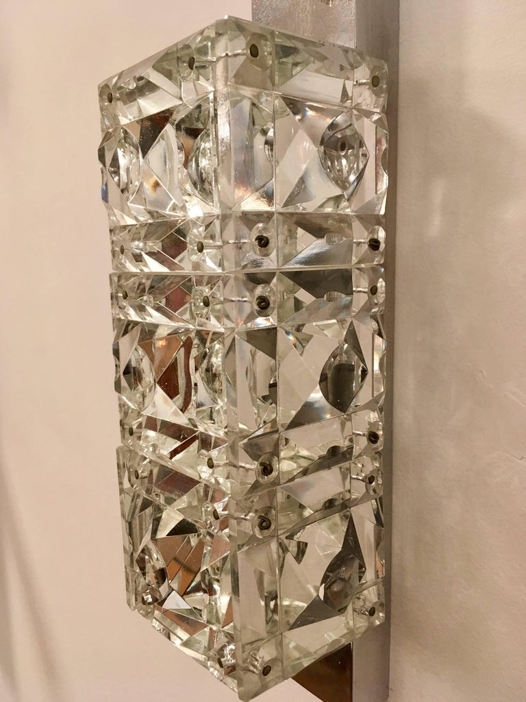 Pair of 1960s Austrian Crystal Kinkeldey Wall Lights For Sale 2