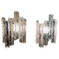 Pair of 1960s Austrian J.T Kalmar Iced Glass Wall Sconces for Kalmar Lighting
