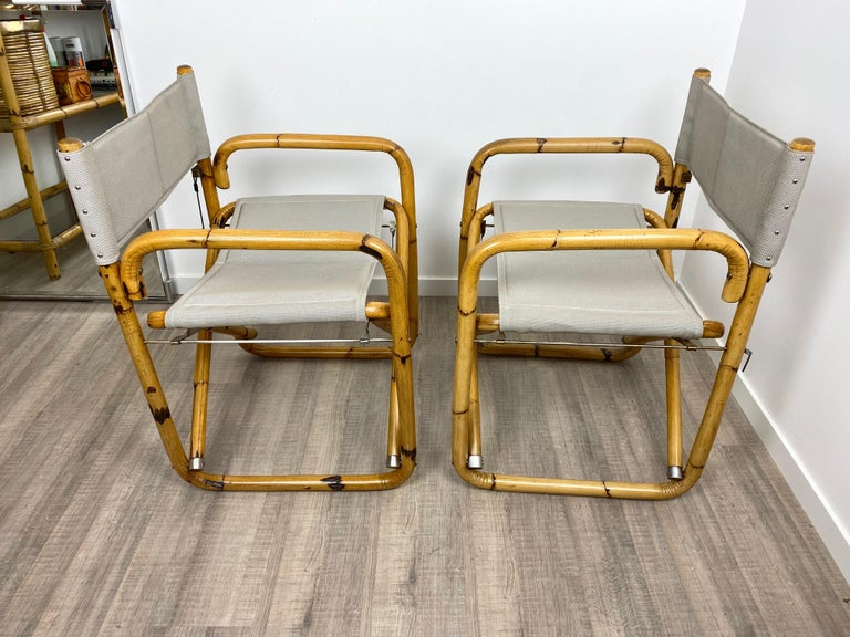 Pair of 1960s Bamboo Folding Directors Chair, Italy For Sale 3