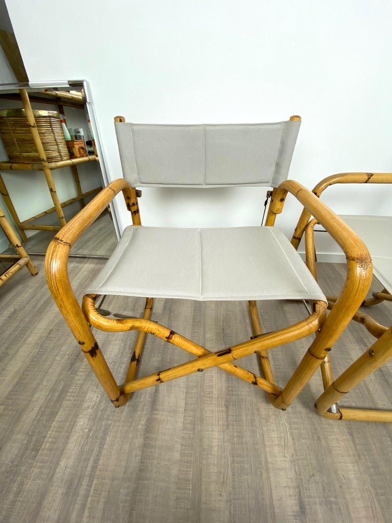 Pair of 1960s Bamboo Folding Directors Chair, Italy For Sale 5