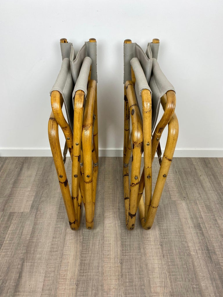 Pair of 1960s Bamboo Folding Directors Chair, Italy For Sale 6