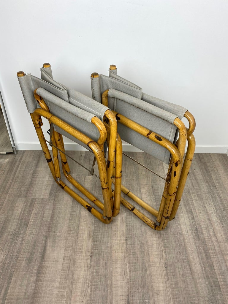 Pair of 1960s Bamboo Folding Directors Chair, Italy For Sale 7