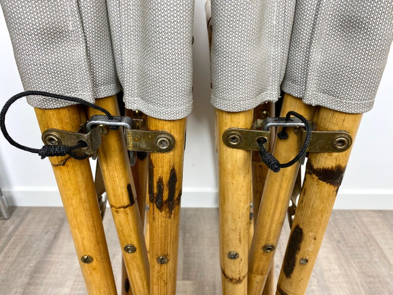 Pair of 1960s Bamboo Folding Directors Chair, Italy For Sale 9