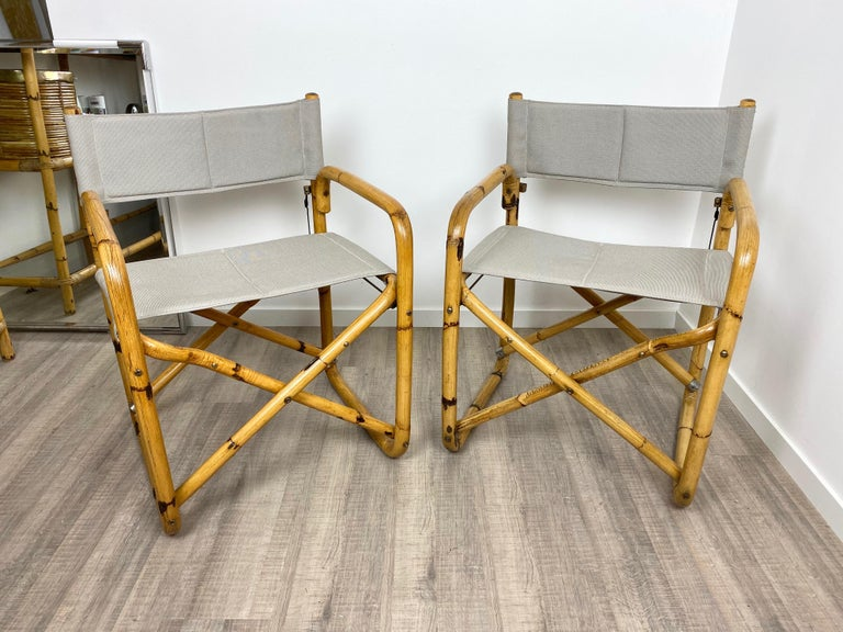 Pair of two folding director's chair in bamboo and new texture structure, Italy, circa 1960.