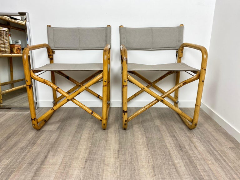 Mid-Century Modern Pair of 1960s Bamboo Folding Directors Chair, Italy For Sale