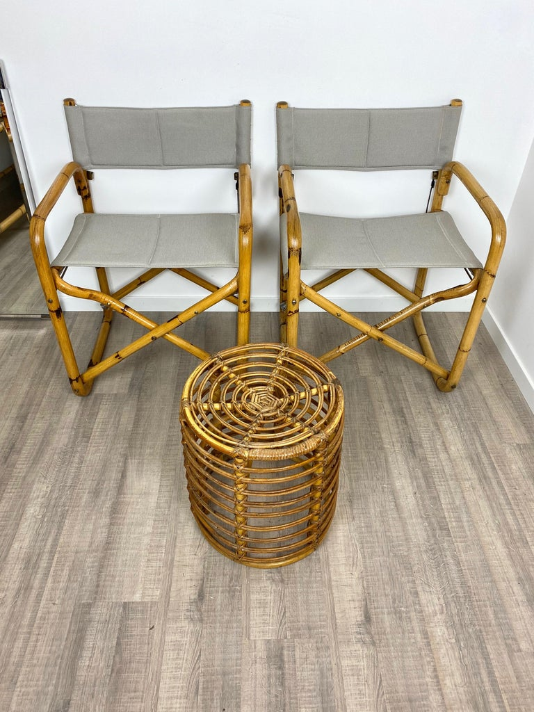 Italian Pair of 1960s Bamboo Folding Directors Chair, Italy For Sale