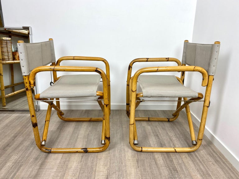 Pair of 1960s Bamboo Folding Directors Chair, Italy In Good Condition For Sale In Rome, IT