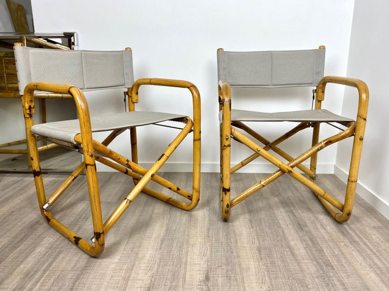 Mid-20th Century Pair of 1960s Bamboo Folding Directors Chair, Italy For Sale