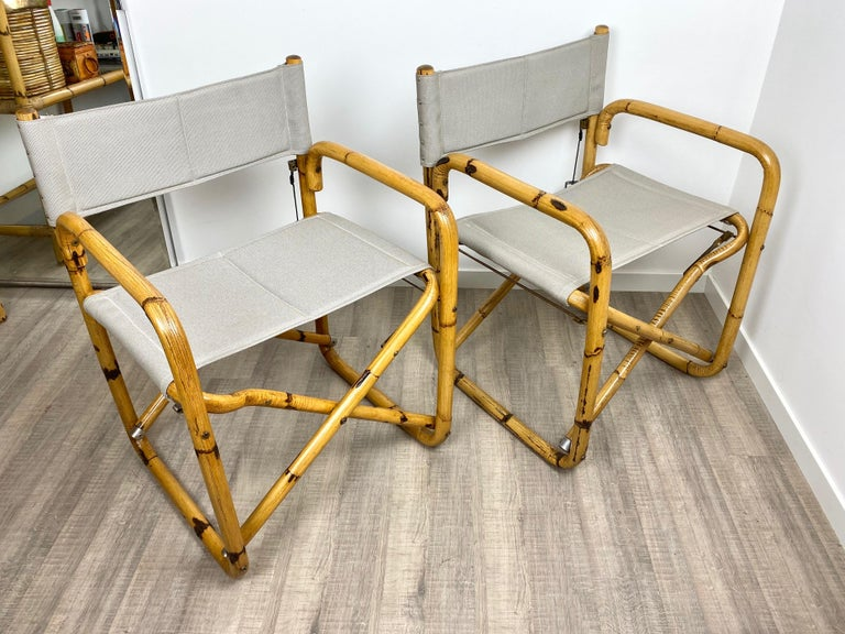 Fabric Pair of 1960s Bamboo Folding Directors Chair, Italy For Sale