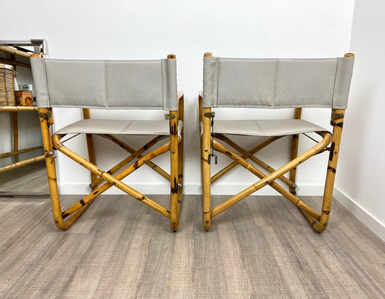 Pair of 1960s Bamboo Folding Directors Chair, Italy For Sale 1