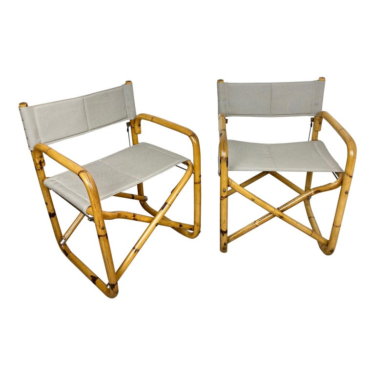 Pair of 1960s Bamboo Folding Directors Chair, Italy For Sale