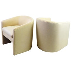 Pair of 1960s Barrel Back Tub Chairs in White and Gold Weave