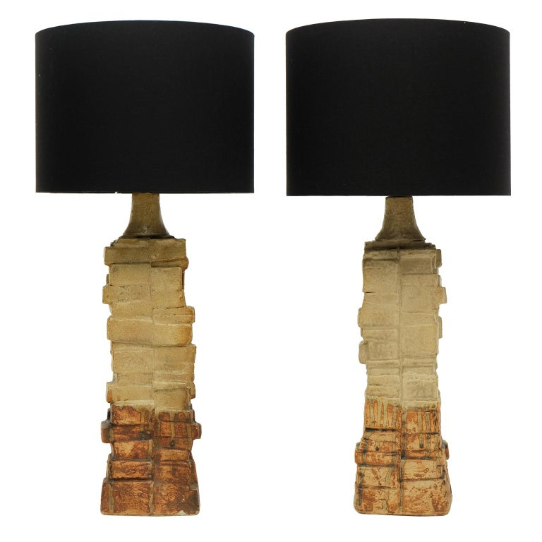 English Pair of 1960s Bernard Rooke Sculptural Pottery Table Lamps Ceramic For Sale