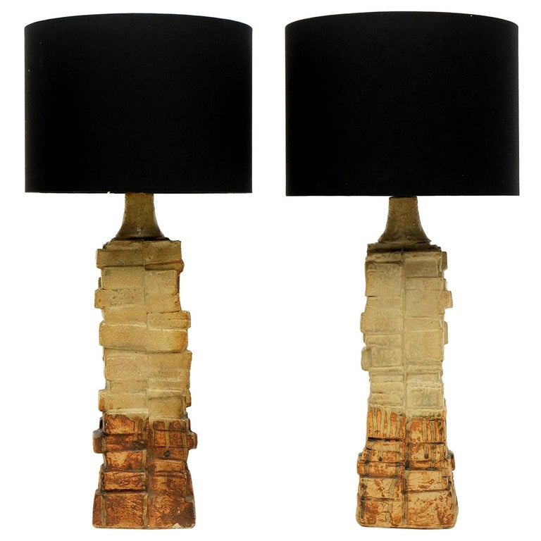 Pair of 1960s Bernard Rooke Sculptural Pottery Table Lamps Ceramic For Sale
