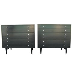 Pair of 1960s Black and White American of Martinsville Dressers