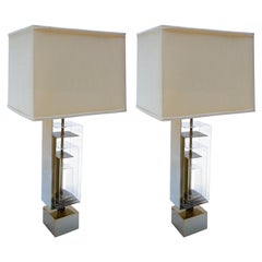 Pair of 1960s Brass and Acrylic Table Lamps by Laurel