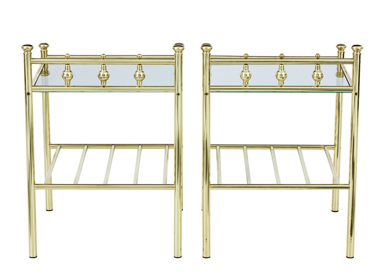 Scandinavian Modern Pair of 1960s Brass and Glass Top Tables For Sale