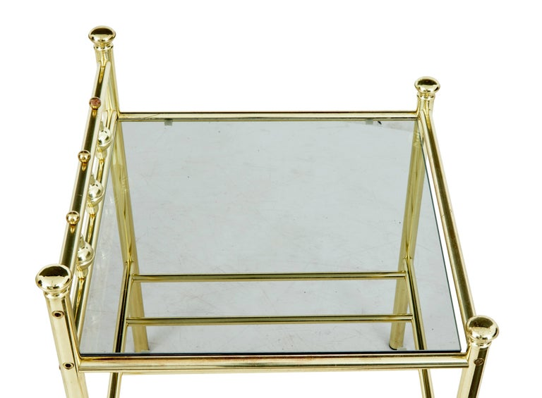 Swedish Pair of 1960s Brass and Glass Top Tables For Sale