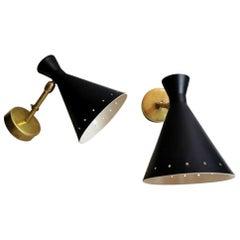 Pair of 1960s Brass Italian Sconces Style Stilnovo Diabolo Model