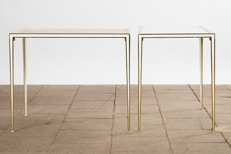 Mid-Century Modern Pair of Mid-Century side tables with Mirror Glass tops by Vereinigte Werkstätten For Sale