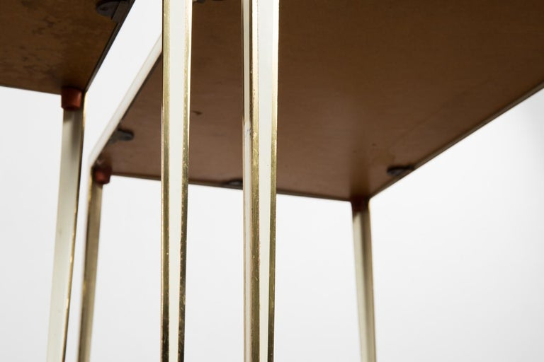 Brass Pair of Mid-Century side tables with Mirror Glass tops by Vereinigte Werkstätten For Sale