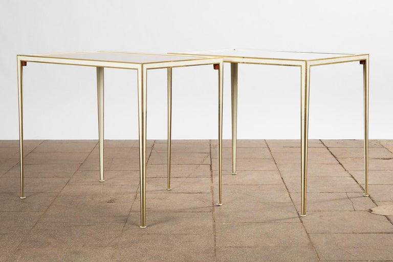 Pair of Mid-Century side tables with Mirror Glass tops by Vereinigte Werkstätten For Sale 2