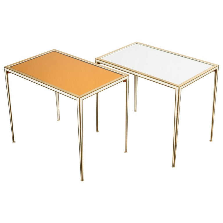 Pair of Mid-Century side tables with Mirror Glass tops by Vereinigte Werkstätten For Sale