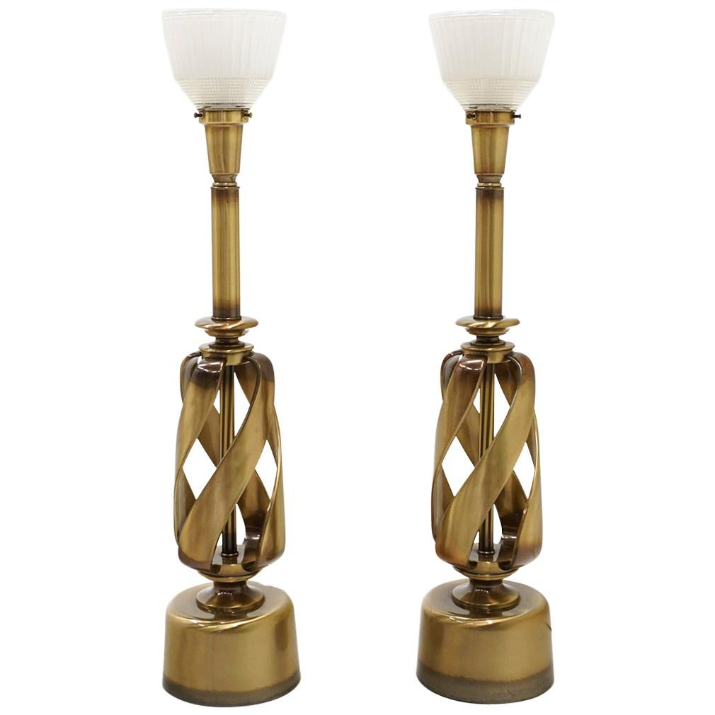 Pair of 1960s Brass Table Lamps with Original Globes, Attributed to Stiffel