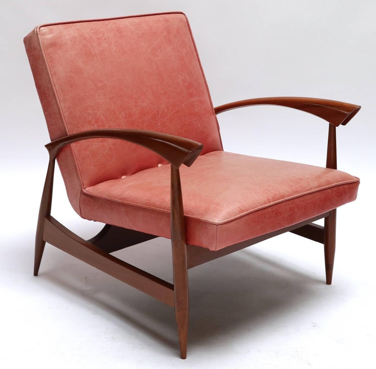 Pair of 1960s Brazilian caviuna armchairs upholstered with leather.