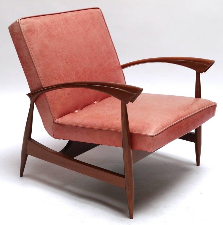 Leather Pair of 1960s Brazilian Caviuna Armchairs For Sale