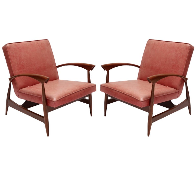 Pair of 1960s Brazilian Caviuna Armchairs