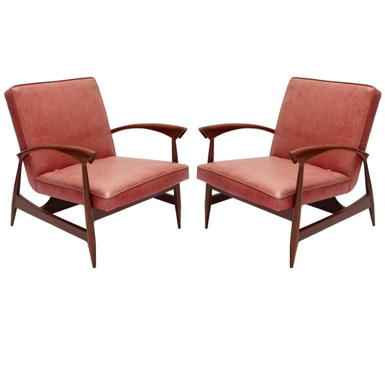 Pair of 1960s Brazilian Caviuna Armchairs For Sale