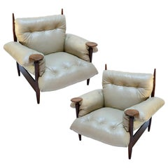 Pair of 1960s Brazilian Jacaranda Armchairs by M. L. Magalhães in Beige Leather