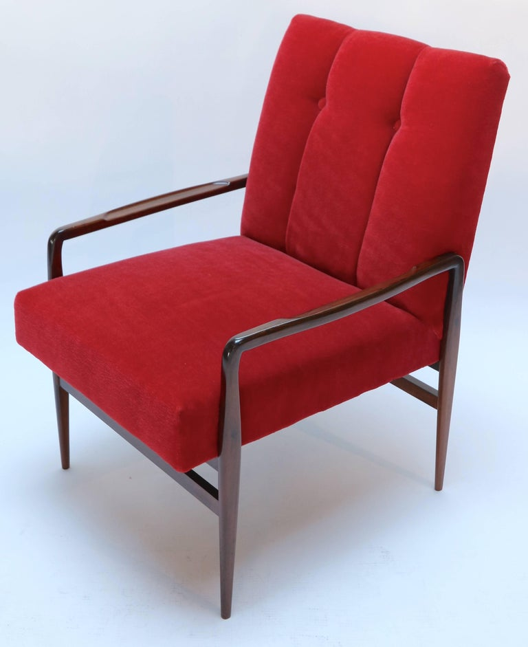 Pair of beautifully restored 1960s Brazilian jacaranda armchairs upholstered in red mohair.