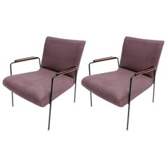Pair of 1960s Brazilian Jacaranda Wood and Black Metal Armchairs in Violet Linen