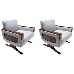 Pair of 1960s Brazilian Jacaranda Wood Armchairs in Grey Linen