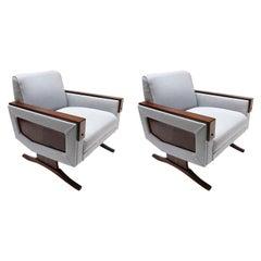Pair of 1960s Brazilian Jacaranda Wood Armchairs in Grey Linen