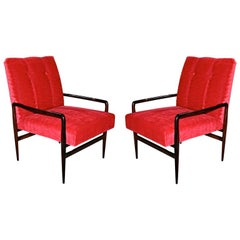 Pair of 1960s Brazilian Jacaranda Wood Armchairs in Red Mohair