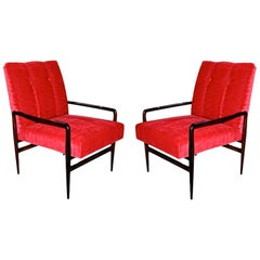 Pair of 1960s Brazilian Jacaranda Wood Armchairs in Red Mohair