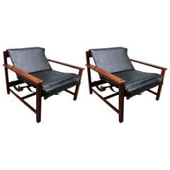 Pair of 1960s Brazilian Jacaranda Wood Reclining Lounge Chairs in Black Leather