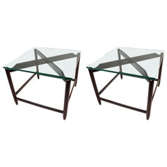 Pair of 1960s Brazilian Jacaranda Wood Side Tables with Glass Top