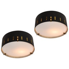 Pair of 1960s Bruno Gatta Wall or Ceiling Lights for Stilnovo