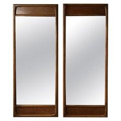 Pair of 1960s Burled Walnut Mirrors